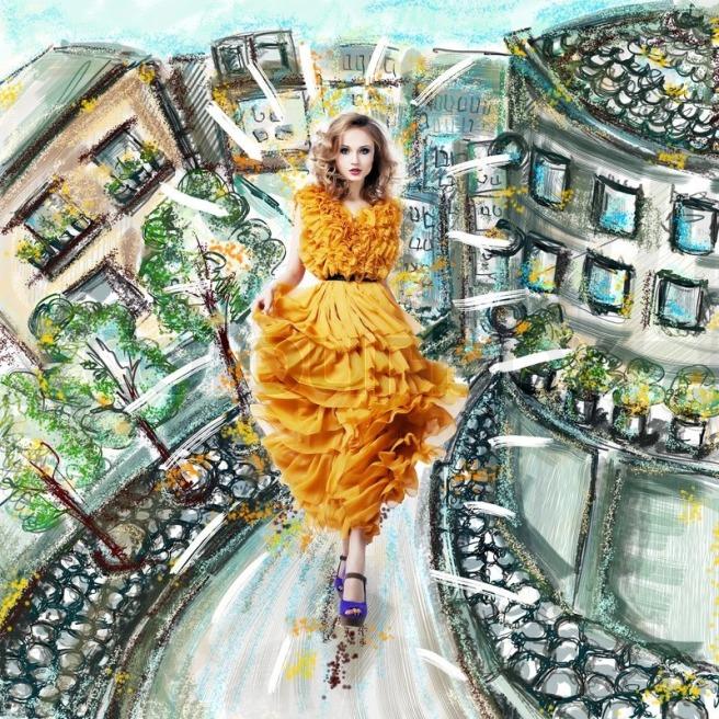 5731441-fantasy-futuristic-modern-woman-in-fashion-dress-walking-urban-scenery-illustration